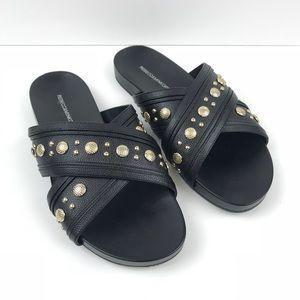 Rebecca Minkoff Black Susie Studded Slide Sandal